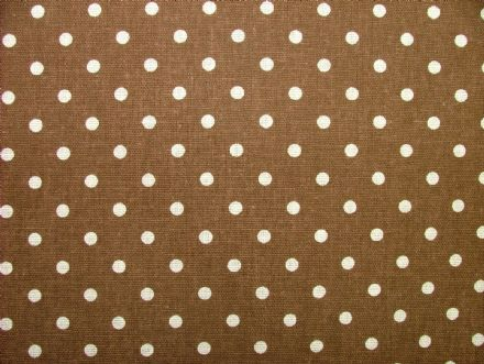 Brown Polka Dot Cotton / Linen Curtain, Soft furnishing, craft fabric